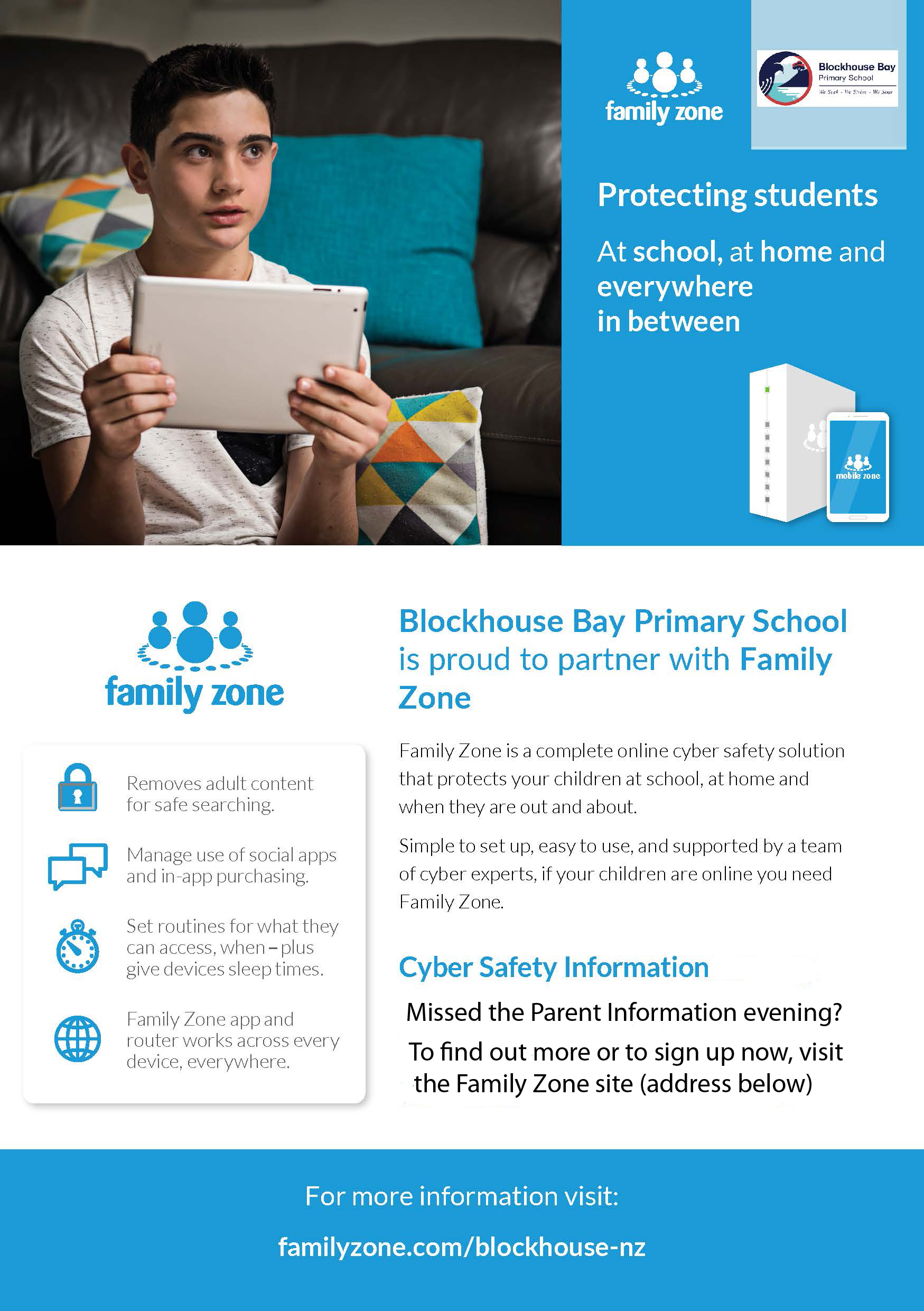 Blockhouse Bay Primary School - A community approach to Cybersafety - Family Zone - Protecting students at School, at home and everywhere inbetween