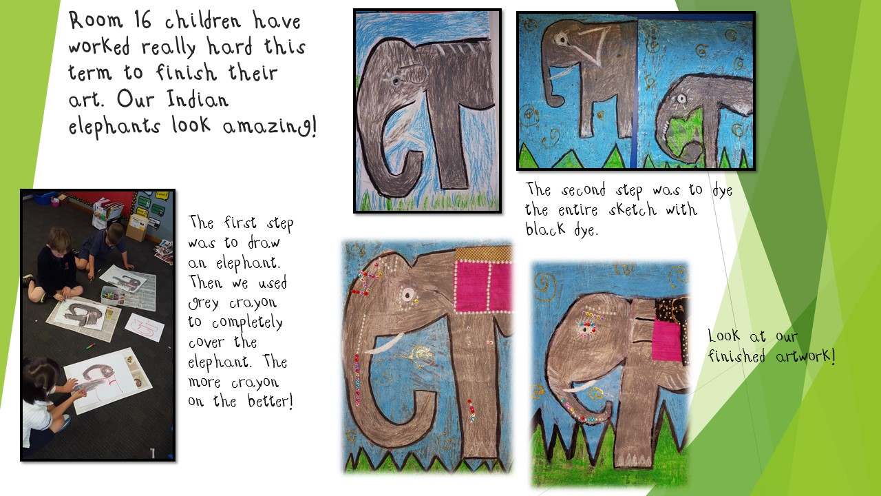 Blockhouse Bay Primary School - Indian elephant art